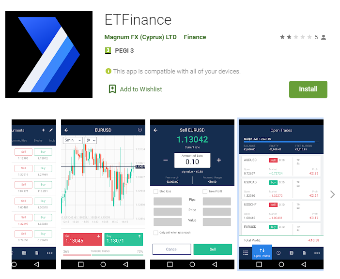 ETFinance Android mobile app