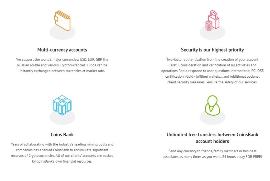 CoinsBank features