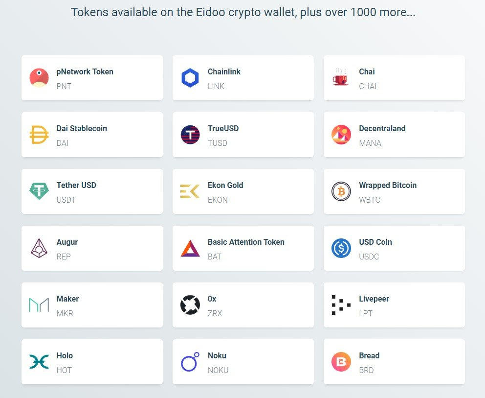 Eidoo tokens supported