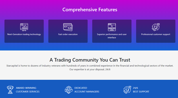 Starcapital main trading features